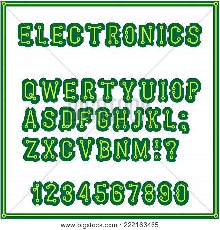The set of letters of the style of the printed circuit Board. Alphabet vector. Font. Electronics industrial and domestic