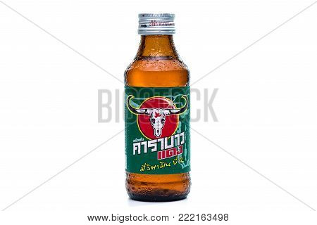 Bangkok, Thailand - August 17,2017:front View Logo Of Carabao Dang Energy Drinks Isolated On White B