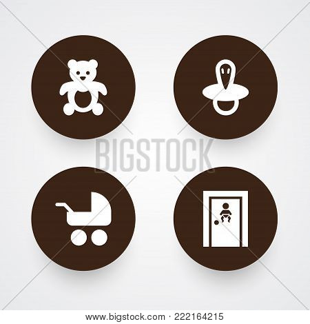 Collection Of Room, Teat, Pram And Other Elements.  Set Of 4 Kid Icons Set.