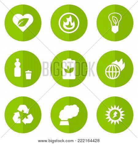 Collection Of Energy, Warm, Leaves And Other Elements.  Set Of 9 Bio Icons Set.