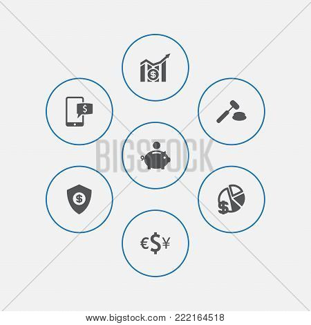 Collection Of Finance, Diagram, Online Banking And Other Elements.  Set Of 7 Budget Icons Set.