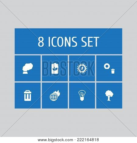 Collection Of Warm, Eco Battery, Container And Other Elements.  Set Of 8 Bio Icons Set.