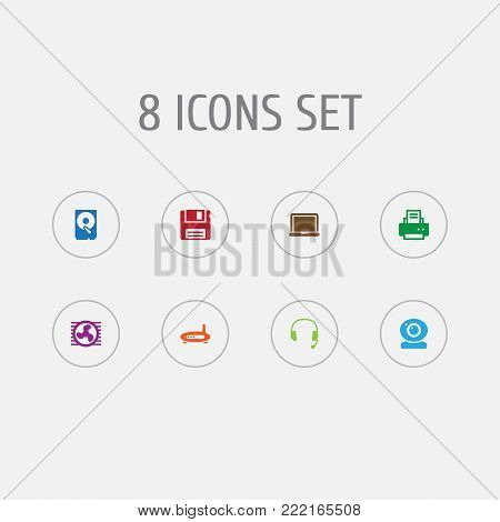 Collection Of Hard Disk, Headset, Peripheral And Other Elements.  Set Of 8 Laptop Icons Set.