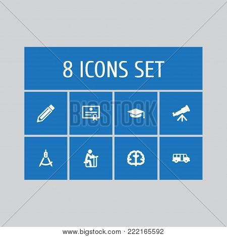 Collection Of Marrow, Academic Hat, Magnet Navigator And Other Elements.  Set Of 8 Science Icons Set.
