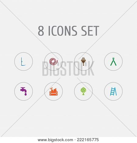 Collection Of Garden, Shears, Cutter And Other Elements.  Set Of 8 Horticulture Icons Set.