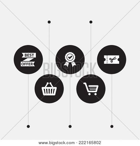 Collection Of Guarantee, Ticket, Basket And Other Elements.  Set Of 5 Magazine Icons Set.