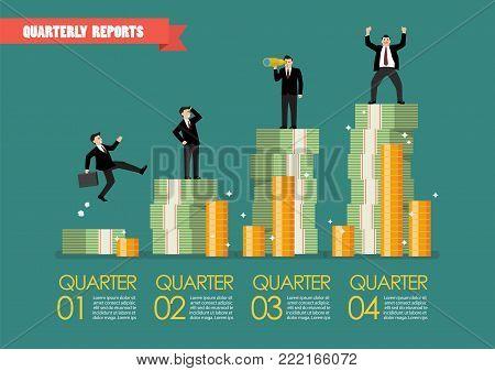 Quarterly reports infographic. Vector illustration graphic design
