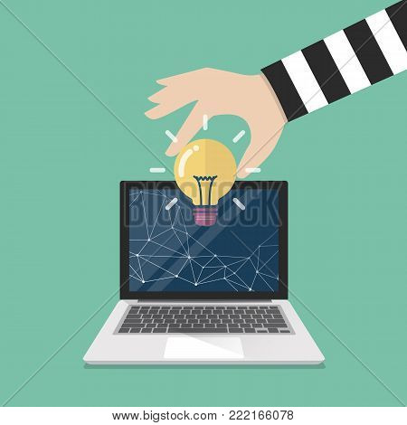 Thief stealing lightbulb idea from internet. Vector illustration