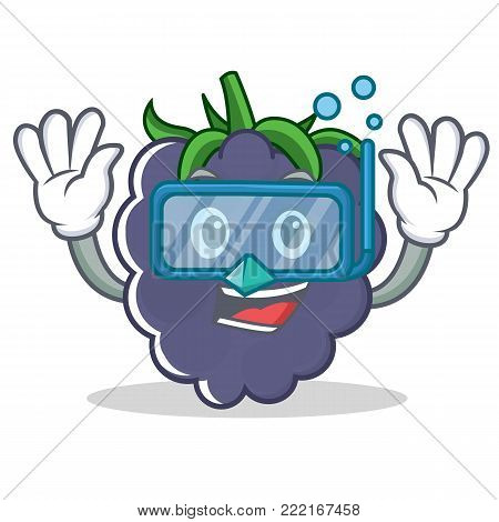 Diving blackberry character cartoon style vector illustration