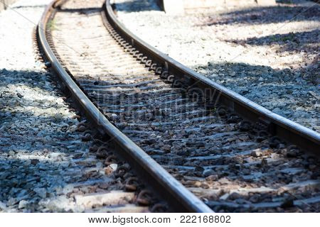 railway track, line crossing  railway track on the stone background Bangkok Thailand