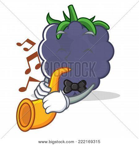 With trumpet blackberry mascot cartoon style vector illustration