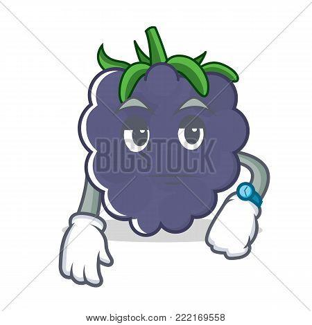 Waiting blackberry mascot cartoon style vector illustration