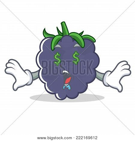 Money eye blackberry mascot cartoon style vector illustration