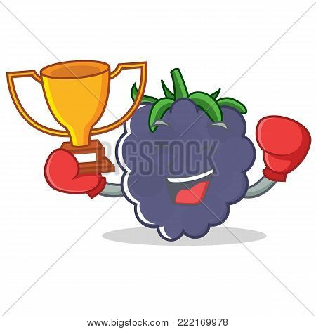 Boxing winner blackberry mascot cartoon style vector illustration