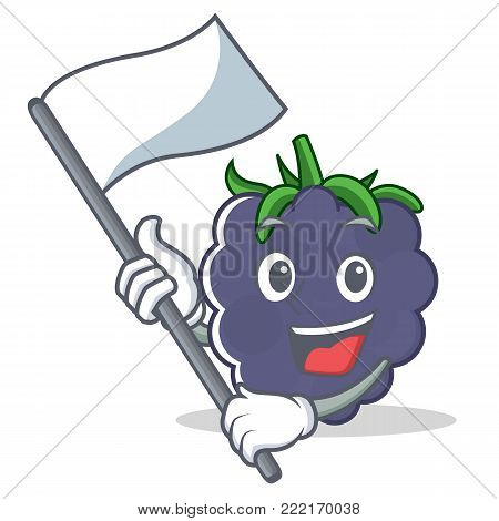 With flag blackberry mascot cartoon style vector illustration
