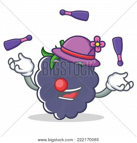 Juggling blackberry mascot cartoon style vector illustration