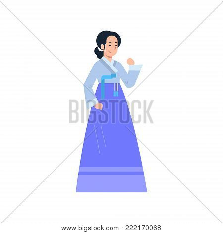 Korea Traditional Clothes Woman Wearing Ancient Korean Dress Isolated Asian Costume Concept Flat Vector Illustration