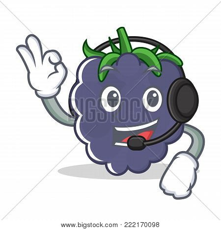 With headphone blackberry mascot cartoon style vector illustration