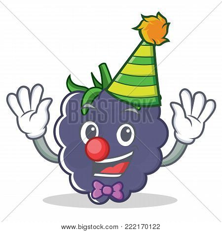 Clown blackberry mascot cartoon style vector illustration