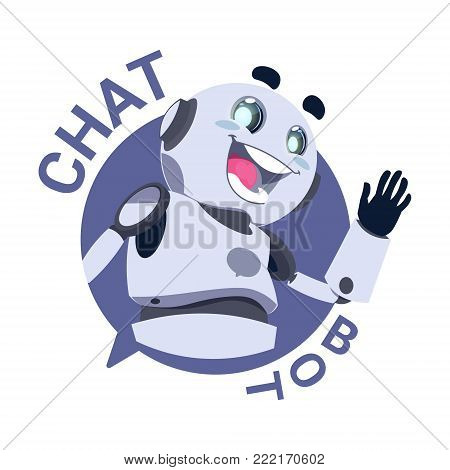 Chat Bot Icon Modile App Robot Chatter Or Chatterbot Technical Support Virtual Service Concept Flat Vector Illustration