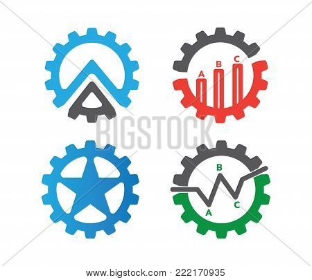 vector set of gear logo, finance, star gear, line chart, stock exchanges, business economy