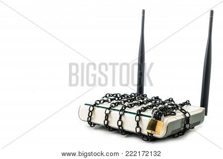 A photo of router with a chain, Metaphor in security network concept