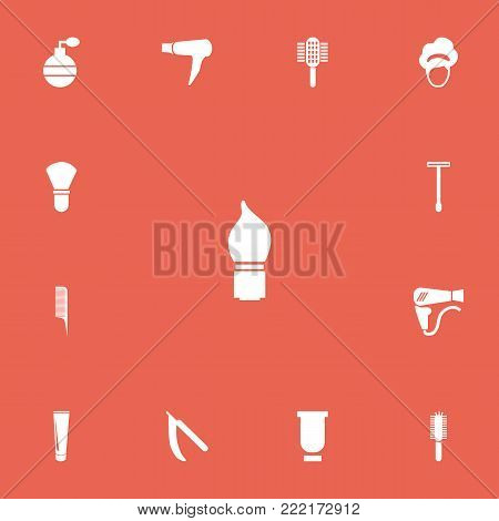 Set of 13 editable tonsorial artist icons. Includes symbols such as tube, blade, barber tools and more. Can be used for web, mobile, UI and infographic design.