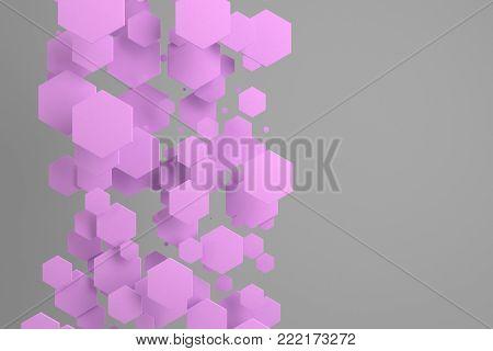 Violet Hexagons Of Random Size On White Background