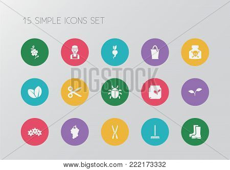 Set of 15 editable agriculture icons. Includes symbols such as beet, ladybug, natural and more. Can be used for web, mobile, UI and infographic design.