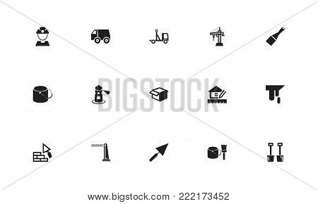 Set of 15 editable construction icons. Includes symbols such as tools, truck, workman and more. Can be used for web, mobile, UI and infographic design.