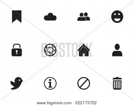 Set of 12 editable internet icons. Includes symbols such as recycle bin, network, deny and more. Can be used for web, mobile, UI and infographic design.