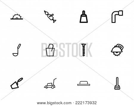 Set of 12 editable instrument icons line style. Includes symbols such as lawn mower, cuisine utensil, soup ladle and more. Can be used for web, mobile, UI and infographic design.
