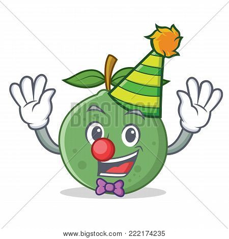 Clown guava mascot cartoon style vector illustration