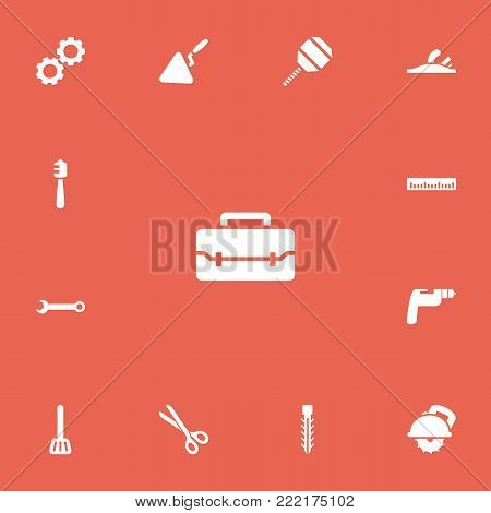 Set of 13 editable equipment icons. Includes symbols such as scissors, cordless polisher, ruler and more. Can be used for web, mobile, UI and infographic design.