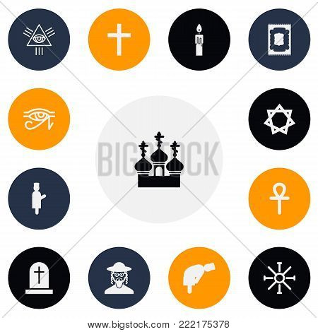 Set of 13 editable faith icons. Includes symbols such as david star, islamic pray, eye of providence and more. Can be used for web, mobile, UI and infographic design.