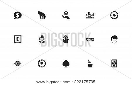 Set of 15 editable game icons. Includes symbols such as spades, jack card, hotline and more. Can be used for web, mobile, UI and infographic design.