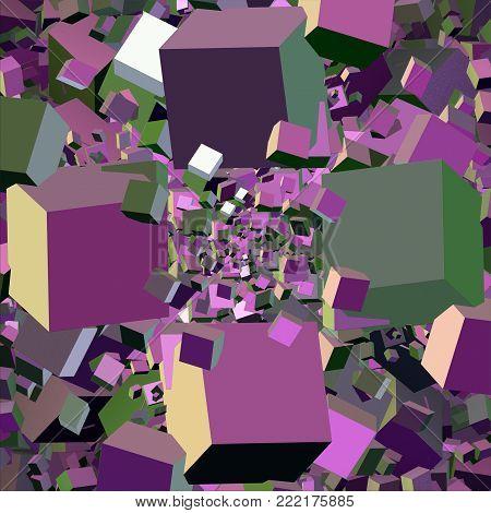Pink Fractal Cubic Background    -  3d Illustration