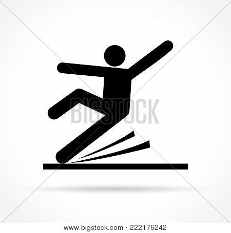 Illustration of slippery floor icon on white background