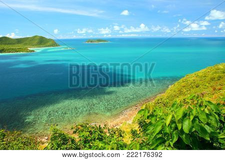 Beautiful blue seascape at Khao Ma Cho Samaesan beach Chonburi province, Gulf of Thailand.