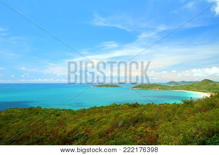 Heaven horizon of blue seascape at Samaesan Chonburi, Gulf of Thailand.