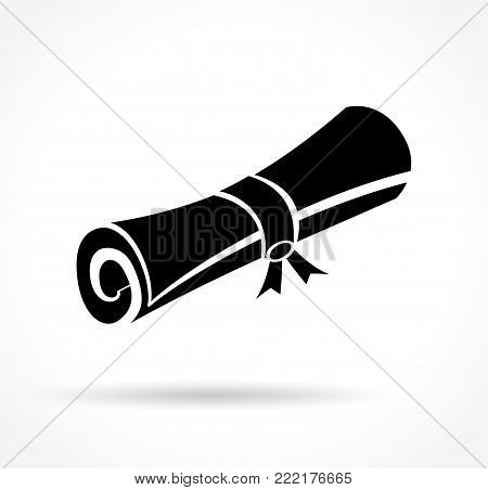 Illustration of scroll icon on white background