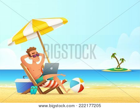 Freelancer on the beach working and relaxing. Business Man Remote Work Place. Businessman at the beach