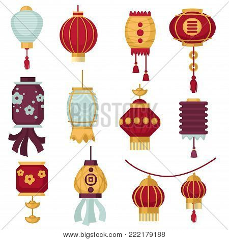 Chinese lanterns or red paper traditonal China decorations for New Year festival. Vector isolated icons of paper lanterns with hieroglyph calligrpahy or floral pattern design and tassels