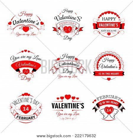 Happy Valentines Day vector heart valentines icons for greeting card design template. 14 February Valentine love day holiday red hearts with wings for confession wish on ribbons set