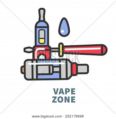 Vape and liquid substance with flavor to refill device that charges from electricity and produce steam as alternative way to smoke isolated cartoon flat vector illustration on white background.