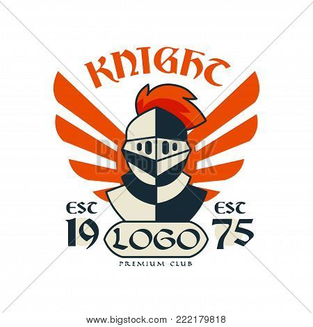 Knight logo, premium club, esc 1975, vintage badge or label, heraldry element vector Illustration on a white background
