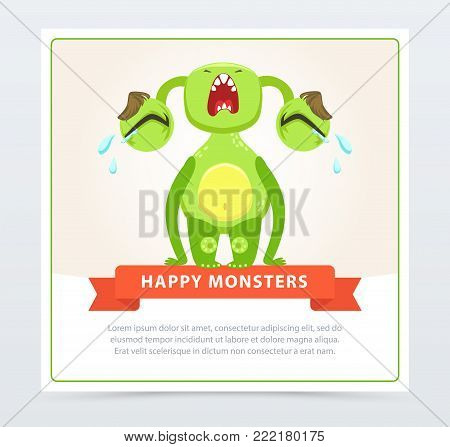 Cute funny green monster loudly crying, happy monsters banner cartoon vector element for website or mobile app with sample text