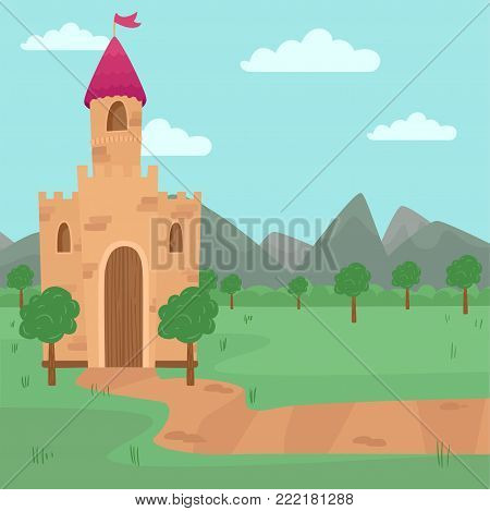 Landscape with fairy medieval castle vector illustration, element for fairy tale story for children vector Illustration, cartoon style