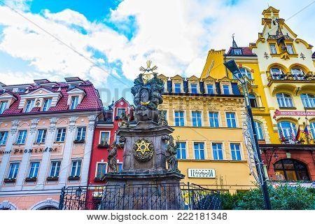 Karlovy Vary, Cszech Republic - January 01, 2018: Pillar of the Holy Trinity or Plague pillar, Karlovy Vary - Czech Republic