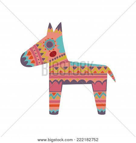 Pinata, colorful patterned donkey cartoon vector Illustration on a white background